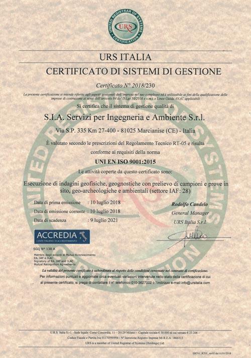 S.I.A. S.r.l. - ISO9001
